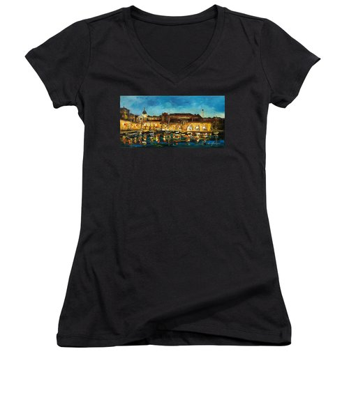 Night In Dubrovnik Harbour Women's V-Neck (Athletic Fit)