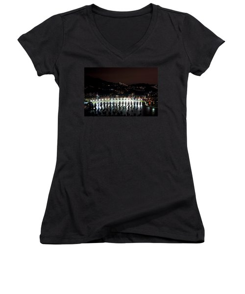 Night In Rio De Janeiro Women's V-Neck T-Shirt (Junior Cut) by Daniel Precht