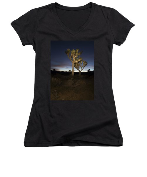 Night Light Painting Joshua Tree National Park Women's V-Neck T-Shirt