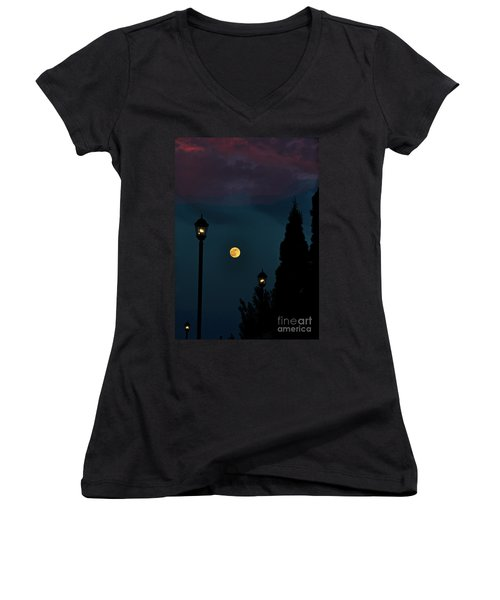 Night Lights Women's V-Neck T-Shirt