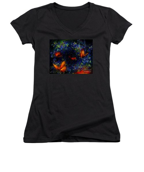Women's V-Neck T-Shirt (Junior Cut) featuring the digital art Night Of The Butterflies by Olga Hamilton