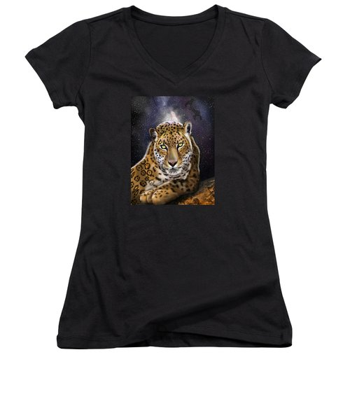 Fourth Of The Big Cat Series - Leopard Women's V-Neck