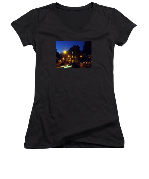 Women's V-Neck T-Shirt (Junior Cut) featuring the photograph Night View by Salman Ravish