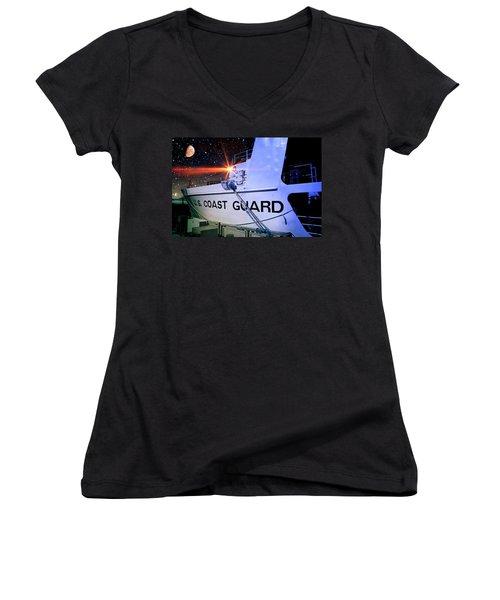 Women's V-Neck T-Shirt (Junior Cut) featuring the digital art Night Watch Us Coast Guard by Aaron Berg