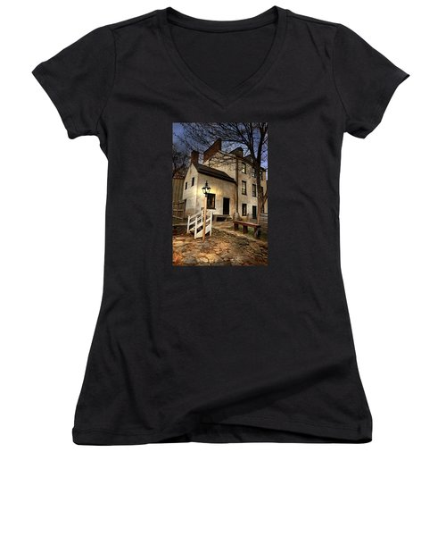 Women's V-Neck T-Shirt (Junior Cut) featuring the digital art Night Watchman by Mary Almond