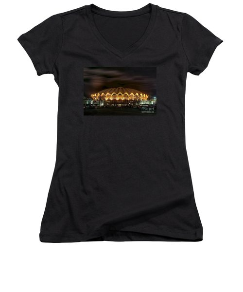 night WVU basketball Coliseum arena in Women's V-Neck T-Shirt