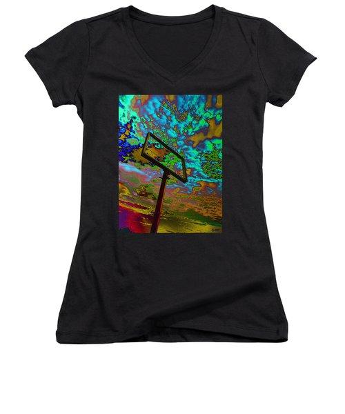 Nikki's Cloud Catcher Women's V-Neck T-Shirt (Junior Cut) by David Pantuso