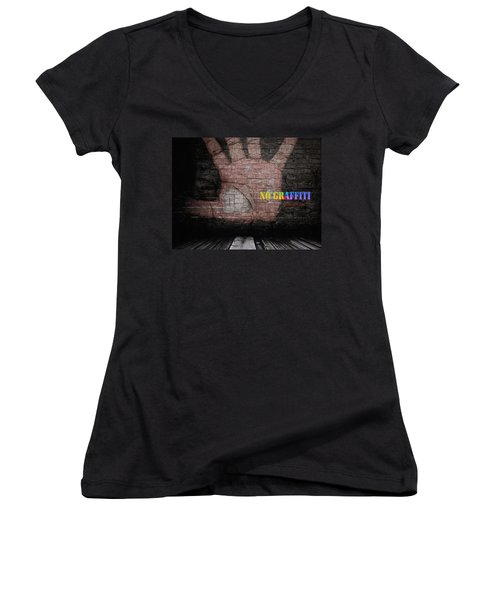No Graffiti Women's V-Neck T-Shirt (Junior Cut) by ISAW Gallery