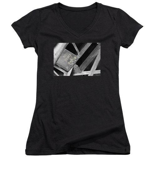 Women's V-Neck T-Shirt (Junior Cut) featuring the photograph No Peace No Justice by Patricia Babbitt