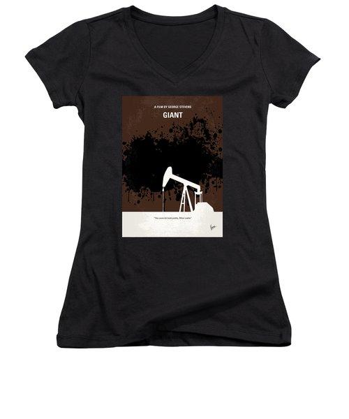 No102 My Giant Minimal Movie Poster Women's V-Neck T-Shirt (Junior Cut) by Chungkong Art
