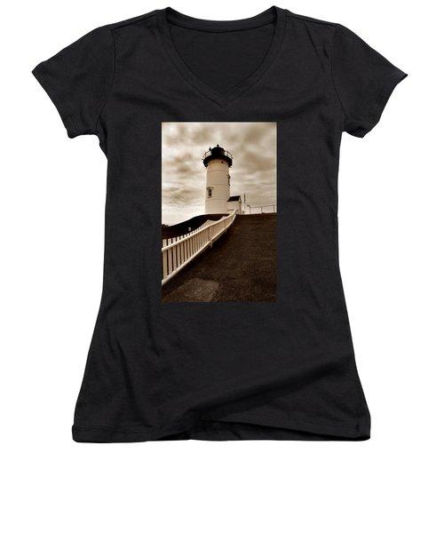 Nobska Lighthouse Women's V-Neck (Athletic Fit)