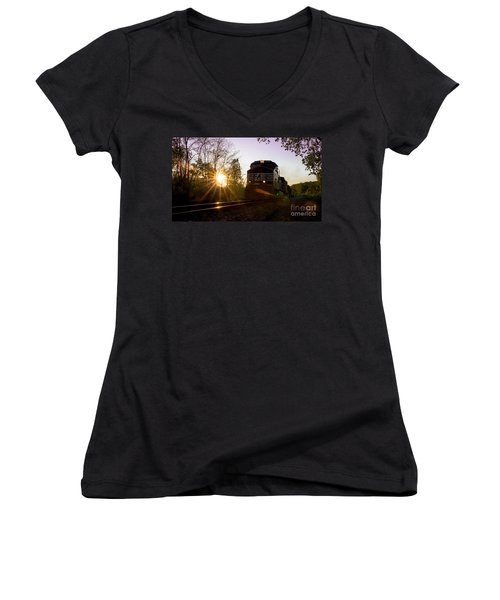 Norfolk And Southern At Sunset Women's V-Neck