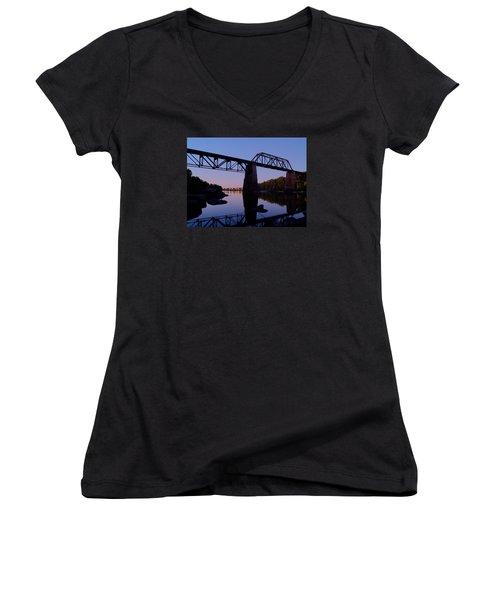 Norfolk-southern Crossing-1 Women's V-Neck T-Shirt (Junior Cut) by Charles Hite