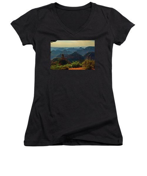 Women's V-Neck T-Shirt (Junior Cut) featuring the photograph North Rim Grand Canyon Imperial Point by Bob and Nadine Johnston