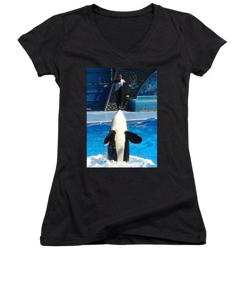 Women's V-Neck T-Shirt (Junior Cut) featuring the photograph Nose Dive by David Nicholls