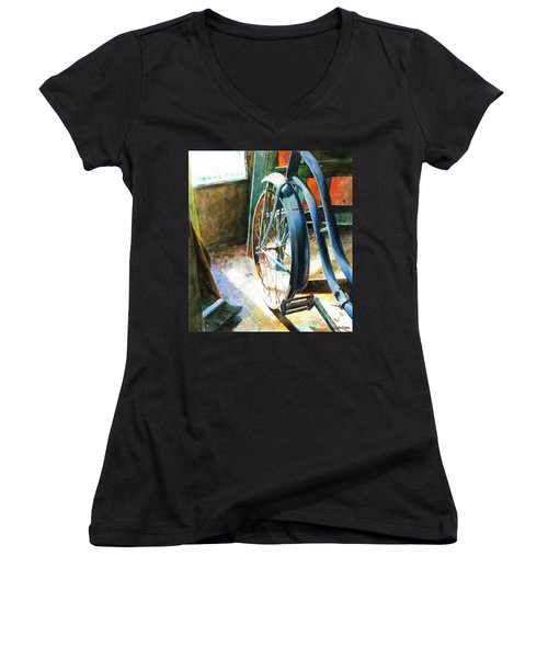 Women's V-Neck featuring the painting Not Forgotten by Andrew King