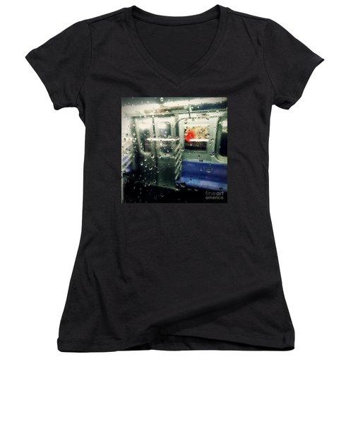 Women's V-Neck T-Shirt (Junior Cut) featuring the photograph Not In Service by James Aiken