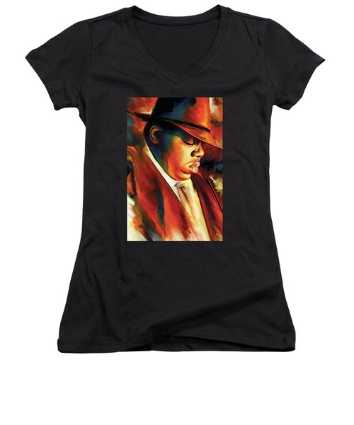 Notorious Big - Biggie Smalls Artwork Women's V-Neck T-Shirt