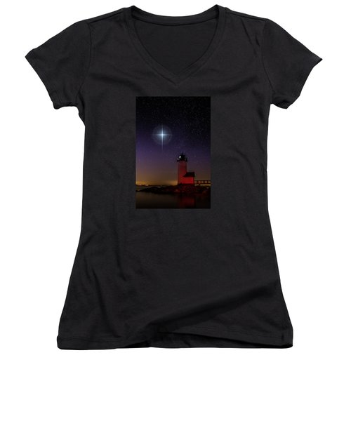 Women's V-Neck T-Shirt (Junior Cut) featuring the photograph Star Over Annisquam Lighthouse by Jeff Folger