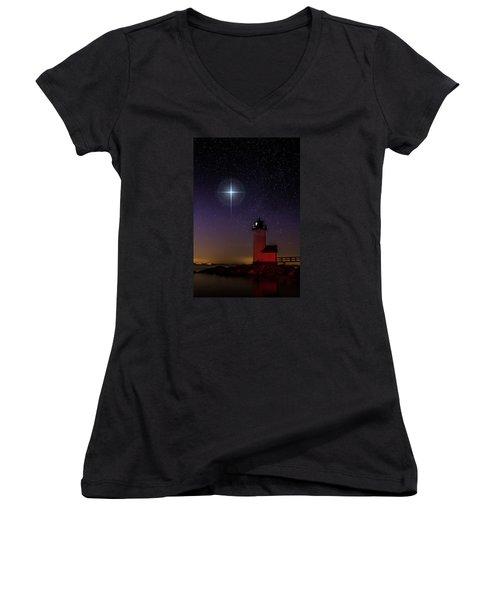 Star Over Annisquam Lighthouse Women's V-Neck T-Shirt (Junior Cut) by Jeff Folger