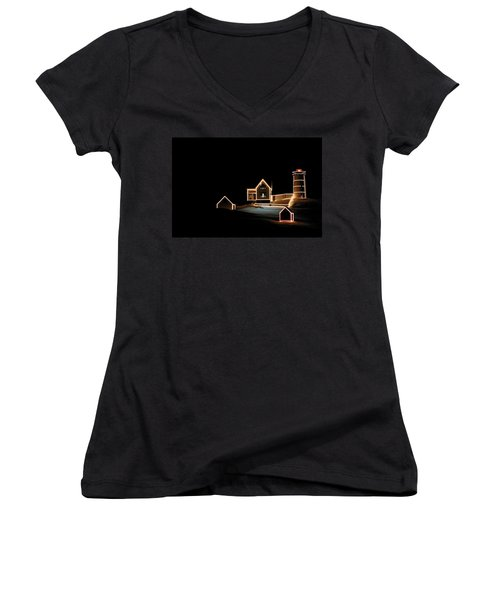 Nubble Lighthouse Christmas Lights Women's V-Neck T-Shirt (Junior Cut) by Denyse Duhaime