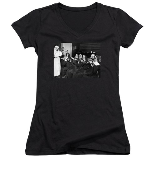 Nuns Rehearse For Concert Women's V-Neck (Athletic Fit)
