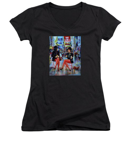 Nyc Red Chairs Women's V-Neck T-Shirt (Junior Cut) by Anna  Duyunova