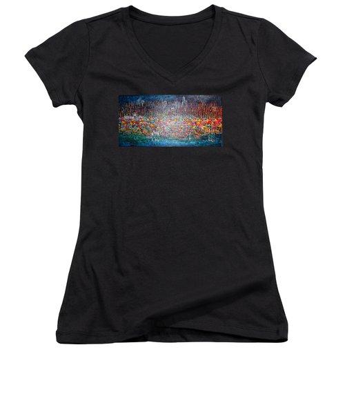 Oak Street Beach Chicago II -sold Women's V-Neck T-Shirt (Junior Cut) by George Riney
