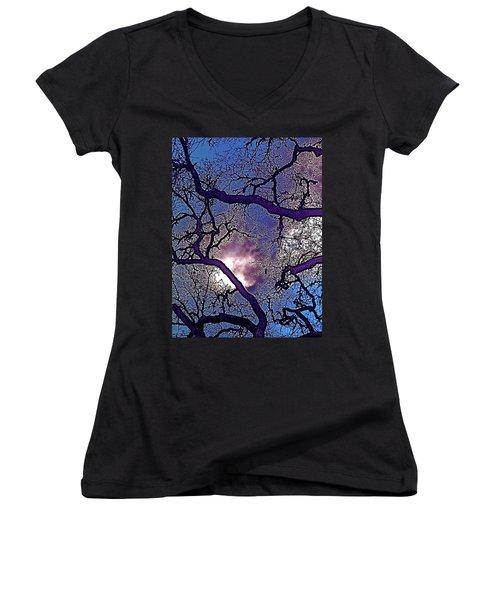 Women's V-Neck T-Shirt (Junior Cut) featuring the photograph Oaks 11 by Pamela Cooper