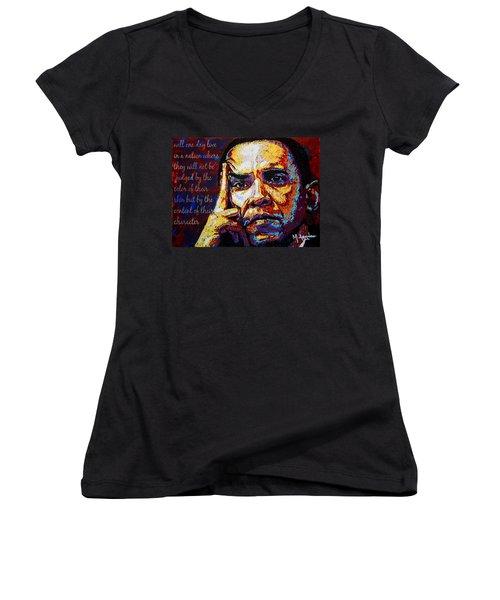 Obama Women's V-Neck T-Shirt (Junior Cut) by Maria Arango