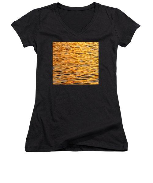 Ocean Sunset Women's V-Neck T-Shirt (Junior Cut) by Carol F Austin