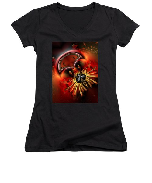 Ocf 199 Fido In Abstract Women's V-Neck T-Shirt (Junior Cut) by Claude McCoy