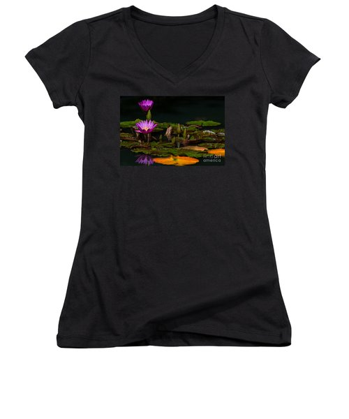 October Lilies 2 Women's V-Neck
