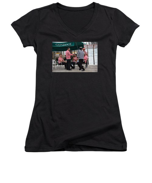 Off The Canal Women's V-Neck T-Shirt (Junior Cut) by Debi Demetrion
