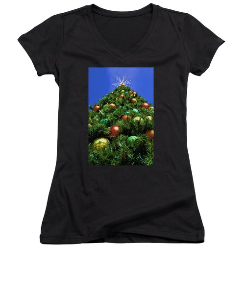 Oh Christmas Tree Women's V-Neck T-Shirt (Junior Cut) by Kathy Churchman