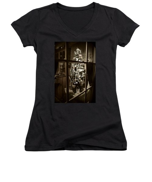 Oh Christmas Tree - Sepia Women's V-Neck T-Shirt (Junior Cut) by Marilyn Wilson