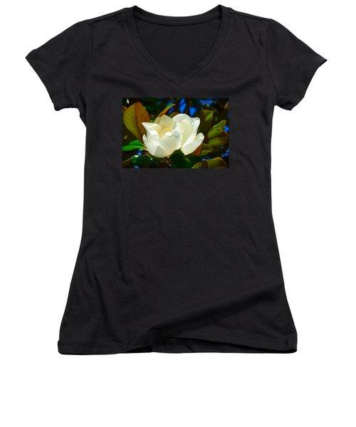 Oh Sweet Magnolia Women's V-Neck T-Shirt (Junior Cut) by Debra Martz