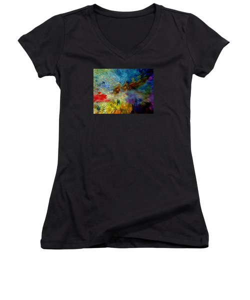 Women's V-Neck T-Shirt (Junior Cut) featuring the painting Oh The Joys Of Santa's Toys by Lisa Kaiser