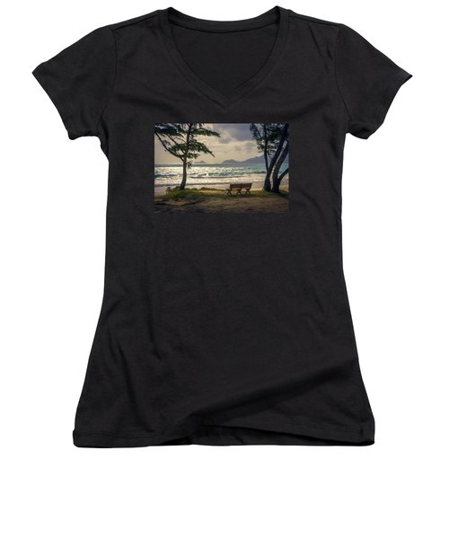 Women's V-Neck T-Shirt featuring the photograph Oahu Sunrise by Steven Sparks