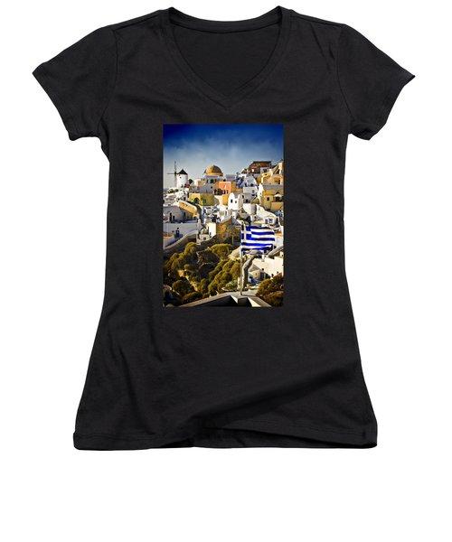 Oia And A Greek Flag Women's V-Neck T-Shirt (Junior Cut) by Meirion Matthias