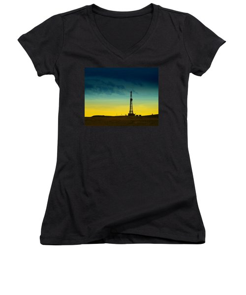 Oil Rig In The Spring Women's V-Neck T-Shirt (Junior Cut) by Jeff Swan