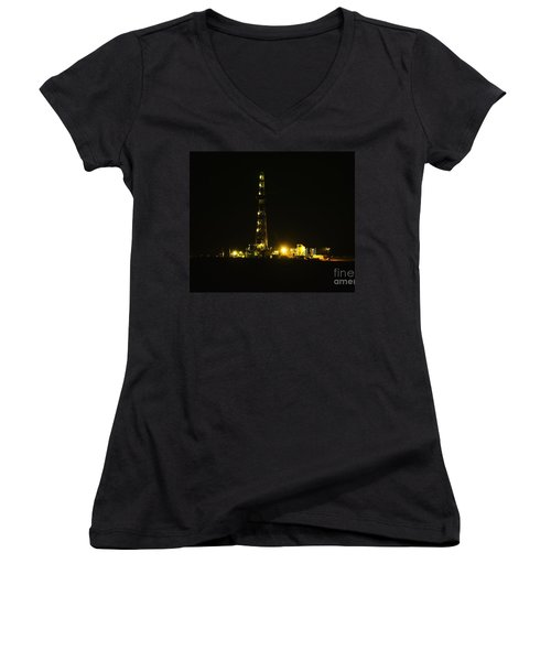 Oil Rig Women's V-Neck T-Shirt (Junior Cut) by Jeff Swan