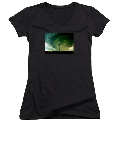 Women's V-Neck T-Shirt (Junior Cut) featuring the photograph Oklahoma Mesocyclone by Ed Sweeney