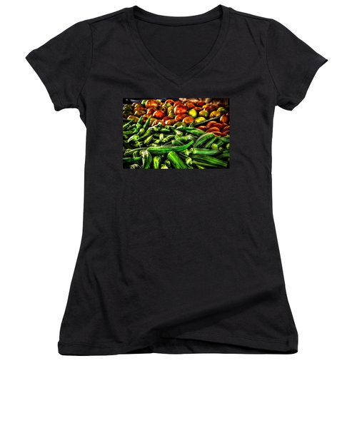 Okra And Tomatoes Women's V-Neck