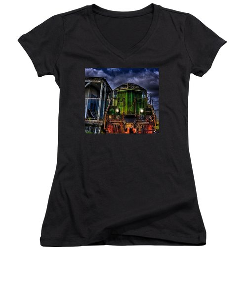 Women's V-Neck T-Shirt (Junior Cut) featuring the photograph Old 6139 Locomotive by Thom Zehrfeld