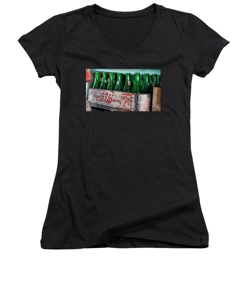 Old 7 Up Bottles Women's V-Neck T-Shirt (Junior Cut) by Thomas Woolworth