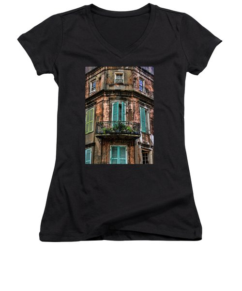 Old And Weathered Women's V-Neck T-Shirt (Junior Cut) by Judy Vincent