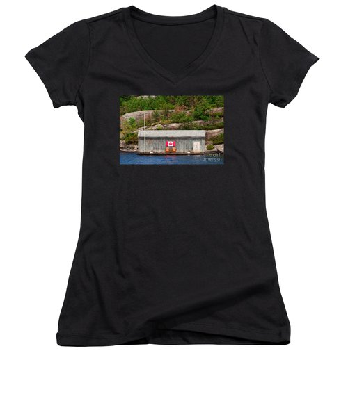 Old Boathouse With Two Muskoka Chairs Women's V-Neck T-Shirt (Junior Cut) by Les Palenik