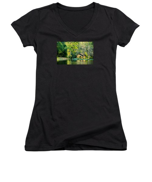 Old Cabin By The Pond Women's V-Neck T-Shirt (Junior Cut) by Parker Cunningham