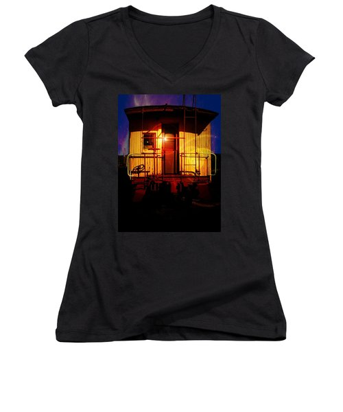 Aaron Berg Women's V-Neck T-Shirt (Junior Cut) featuring the photograph Old Caboose  by Aaron Berg